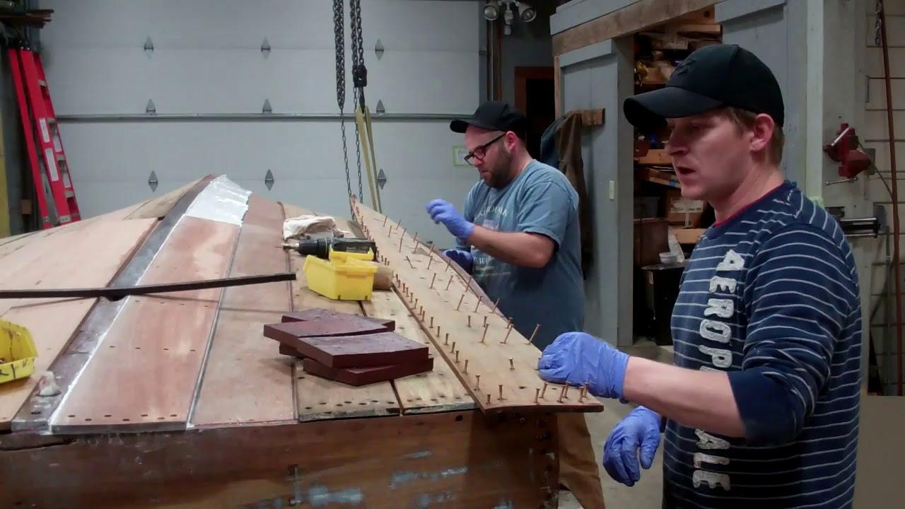 1938 chris craft runabout install bottom planks